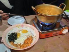 """Favorite Korean foods -- noodle """"rameon"""" & fried rice with Kimchi and fried egg"""