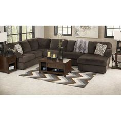American Furniture Warehouse -- Virtual Store -- 3PC Chocolate Sectional w/RAF Chaise