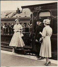 Royal visit 1954 - H.M. Queen Elizabeth II stepping off the royal train 03 Feb 1954