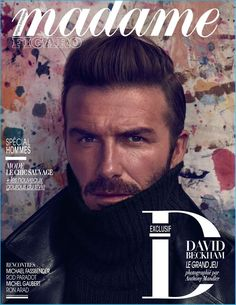 David Beckham covers Madame Figaro, wearing a Ralph Lauren Purple Label turtleneck sweater with a Tom Ford leather biker jacket.
