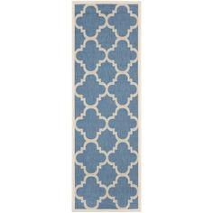 Safavieh Indoor/ Outdoor Courtyard Trellis-pattern Blue/ Beige Rug (2'3'' x 8')
