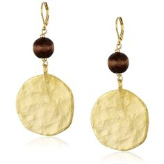 Kenneth Jay Lane Satin Gold Coin with Wood Bead Wire Drop Earrings ($50) ❤ liked on Polyvore featuring jewelry, earrings, earrings jewelry, wire earrings, yellow gold jewelry, coin earrings and gold jewelry