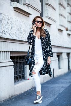 white jeans outfit silver slip on sneakers