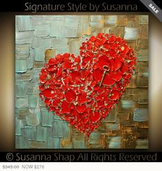 ORIGINAL Abstract Thick Texture Flowers Art Red Heart Key Painting Contemporary Fine Art by Susanna Canvas 24x24 Made to Order