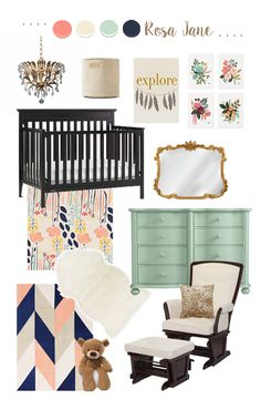 Nursery Design Board // Mint, Coral, Navy, and Gold // Vintage Inspired