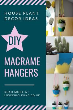Here are 10 easy DIY macrame plant hangers to help you make even more space for your house plant decor! Decorate your home with indoor plants and jazz them up with these DIY planter ideas. Terracotta pot design ideas to spruce up a boring plant pot. Succulent Planter Diy, Planter Ideas, Diy Planters, Succulents Diy, House Plants Decor, Plant Decor, Bright Homes, Macrame Plant Hangers, Home Decor Inspiration