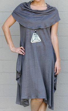 CHALET USA Flax Linen Jersey Knit SHELBY WIDE NECK TUNIC Dress 1X  2X  STERLING #CHALET #WideNeckDress