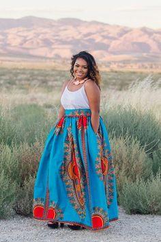 Olori Dashiki Maxi Skirt (Blue)