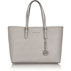 MICHAEL Michael Kors Jet Set Travel medium textured-leather tote ($280) ❤ liked on Polyvore featuring bags, handbags, tote bags, grey, travel purse, michael michael kors tote, accessories handbags, travel totes and grey purse