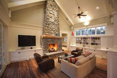 stone fireplace and built ins
