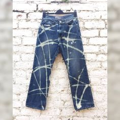 Mens Jeans Bleached Ripped & Distressed to fit size by AbiDashery