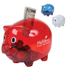 Translucent Piggy Bank (B120) - As low as $2.29c - Classic pig-shaped coin bank with fun wide-eyes.   Features a top money slot and a bottom twist-off cap for easy release. The perfect gift for promoting personal savings, credit, insurance, lending, company cost-cutting programs and more!