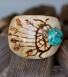 Dreamer ring made from antler