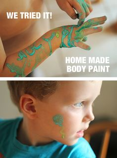 DIY Body Paint - a super simple sensory activity Sensory Activities, Craft Activities For Kids, Toddler Activities, Projects For Kids, Diy For Kids, Crafts For Kids, Hand Mehndi, Child Face, Diy Painting