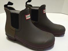 2c42cca7c Hunter Chelsea Short Green Khaki Brown Rain Boots Size 5 EU 36 UK 3 NIB #