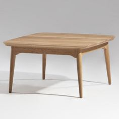"""$299   Sean Dix Collection Tacet Coffee Table   Small: 29.75""""w x 29.75""""d x 15.75""""h Large: 39.5""""w x 39.5""""d x 15.75""""h   Simple modern design; solid hardwood with veneer for long-lasting strength. Rectangular top adds classic appeal while curved edges add a retro touch. Gently tapered legs ensure a reliable stance. Choose from a variety of finish options."""