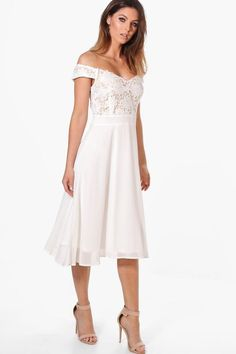 Leilani Lace Chiffon Off Shoulder Midi Dress