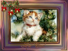 Vánoční přání « Rubrika | Blog u Květky Blog, Cats, Painting, Animals, Gatos, Animales, Kitty Cats, Animaux, Painting Art