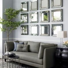 mirrors to brighten room and make it appear larger/more open