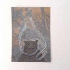 Original Cat card of gelliprint & watercolour . Original Art. Art card. by…