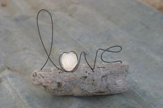 LOVE wire word and sea glass on driftwood