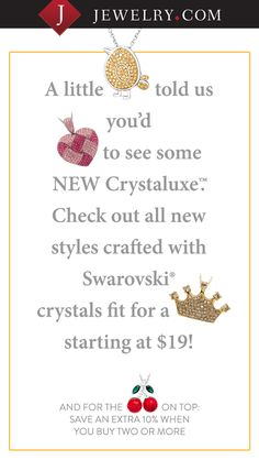 Brand NEW Crystaluxe™ with Swarovski Crystals styles added. Check em' out!