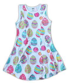 Look what I found on #zulily! White & Blue Easter Egg Skater Dress - Toddler & Girls #zulilyfinds