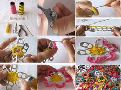 deco fleurs au crochet avec des capsules de canettes de soda