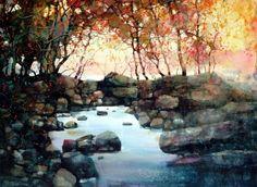 Beautiful Watercolor Landscapes From Artist -ZL.Feng  like my Honey Creek...