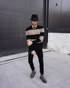 "1,943 Likes, 65 Comments - R I C H E $ (@ryriches) on Instagram: ""Chain detail striped jumper & extreme shredded jeans paired with the grey suede chelsea boots by…"""