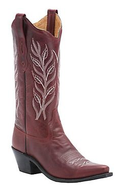 Old West Ladies Classic Red with Embroidered Snip Toe Western Boot | Cavender's