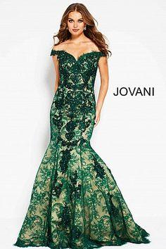1ff1ebcdb3 Green Nude Off the Shoulder Lace Mermaid Evening Dress 54418  Jovani   PromDress  EveningDress