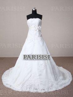 A-Linie trägerloser Ausschnitt Pinsel-Schleppe weiß Brautkleider