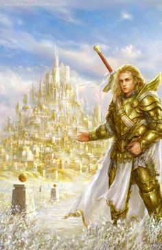 "Medieval fantasy style ""Russian illustrator Andrey Vasilchenko works to enjoy"" Fantasy Male, Dark Fantasy Art, Fantasy Artwork, Lion Of Judah Jesus, Warrior Drawing, Anime Fight, Angel Warrior, Biblical Art, Archangel Michael"