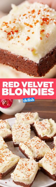 Red Velvet Blondies taste even better than the cake. Get the recipe from Delish.com.