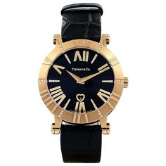 Tiffany & Co. Lady's Rose Gold Quartz Wristwatch ($9,795) ❤ liked on Polyvore featuring jewelry, watches, red, dial watches, 18 karat gold jewelry, tiffany co watches, pink gold watches and swiss quartz watches