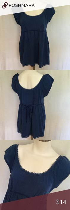 Aerie Longer Top 🆕 Aerie longer style top in medium blue. Accent lace around scoop neck. Short sleeved with elastic around bodice and blue tie ribbon in back. Great shape. Size Large Juniors. aerie Tops