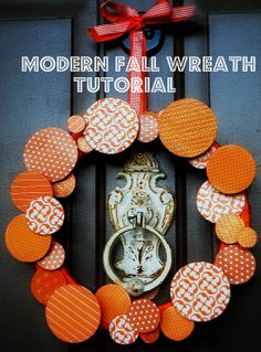Modern Fall 3-D Wreath Tutorial. Could use for any holiday too!! --tatertots and jello #DIY #wreaths