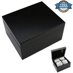 Tea Bag Storage Organizer 4 Sections Holder Box Bag Caddy Elegant Black Chest #HomeAndOfficeElements