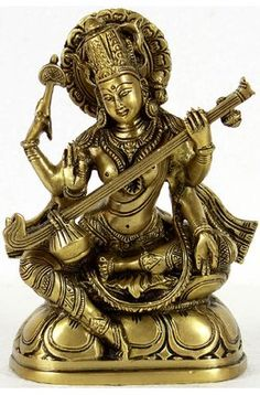 Saraswati - Goddess of Knowledge and Arts, Brass Brass Sculpture Saraswati Idol, Saraswati Statue, Saraswati Goddess, Indian Idol, Indian Art, Hindu Statues, Lord Krishna Wallpapers, Indian Goddess, Mystique