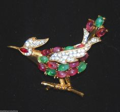 Mint TRIFARI Pink, Green Cabochon Bird Brooch with Pave Rhinestones -Rare Piece in Jewelry & Watches, Vintage & Antique Jewelry, Costume, Designer, Signed, Sets | eBay