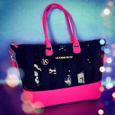 Victoria's Secret Pink Black Sequin Bling Tote New