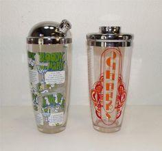Pair Vintage Mid Century Modern Glass Cocktail Shakers w Drink Recipes Art Deco | eBay-urbandigs