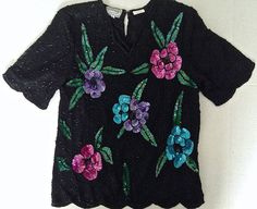 Vintage Stenay Sequined Beaded Top Blouse 100% Silk Black Floral Size S #Stenay #Top