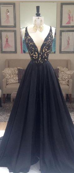 V-Neck Lace Long Charming Prom Dresses, Floor-Length Evening Dresses,Prom Dresses