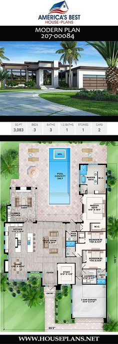 Get to know Plan a 3083 sq. Modern house plan with 3 bedrooms 3 bathrooms a lanai a study double islands in the kitchen an outdoor kitchen and a 2 car garage. To see more Modern house plans visit www. Beach House Floor Plans, Modern House Floor Plans, Dream House Plans, House Plans With Pool, House Design Plans, Big Modern Houses, Japanese Modern House, Best Modern House Design, Plans Architecture