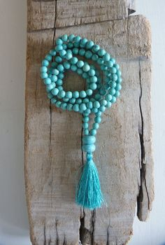 yoga by the sea  turquoise tassel necklace  by beachcomberhome, $25.00