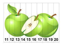 * Puzzel: Appels! Kindergarten Goals, Kindergarten Activities, Writing Activities, Counting Puzzles, Maths Puzzles, Numbers Preschool, Preschool Math, Apple Theme, Montessori Materials