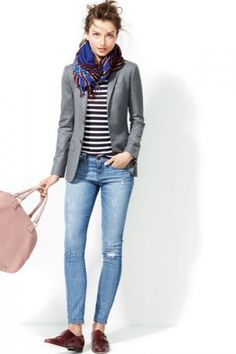 Tomboy Chic / Jcrew Fall Grey blazer, striped shirt, scarf and loafers. Can create look with cardigan Mode Outfits, Fall Outfits, Casual Outfits, Blazer Outfits, Tomboy Outfits, J Crew Outfits, Holiday Outfits, Outfit Jeans, Sweater Outfits