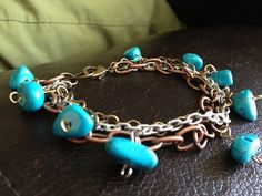 Mixed Metal Turquoise Bracelet by MetalMomJewelry on Etsy, $25.00